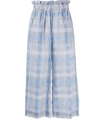 ganni seersucker check cropped trousers - blue