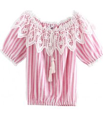blusa rayas broderie rosa nicopoly