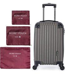 kit mala de bordo café + conjunto de organizador de mala vinho swissport café/vermelho