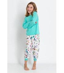 conjunto de pijama infantil acuo longo formiguinha feminino