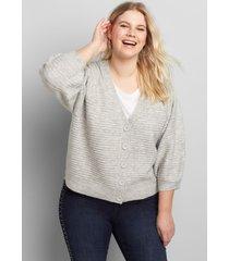 lane bryant women's blouson-sleeve button-front cardigan 10/12 heather grey