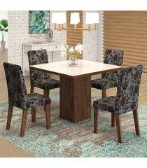 mesa de jantar 4 lugares geisa venus dover/cobre/branco - viero móveis