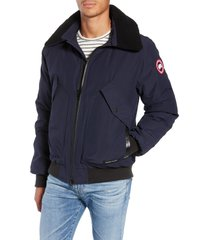 men's canada goose bromley slim fit down bomber jacket with genuine shearling collar, size medium - blue