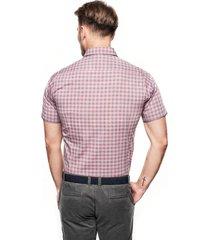 koszula bexley 2305 krótki rękaw slim fit bordo