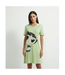 camisola manga curta em viscose estampa poá e meninas super poderosas | cartoon network | verde docinho | p