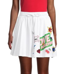 love moschino women's graphic a-line skirt - optical white - size 44 (10)