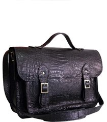 bolsa line store leather satchel grande couro preto croco.