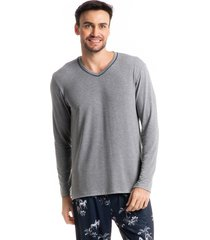 pijama masculino longo estampado hipismo