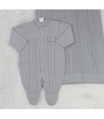 saída de maternidade macacão bolso cinza