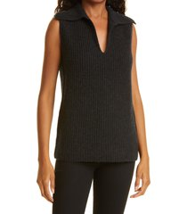 women's vince v-neck wool & cashmere vest, size small - black