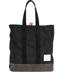 thom browne unstructured tote bag in nylon and suede - black