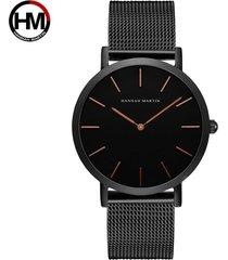 reloj de correa de malla de acero inoxidable-negro