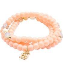 zenzii gold-tone logo charm beaded stretch bracelet