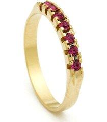 meia alianã§a horus import banhada ouro amarelo pedras rosa - amarelo - feminino - dafiti