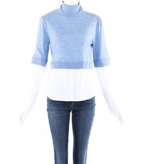 veronica beard nina wool layered sweater blue/white sz: m