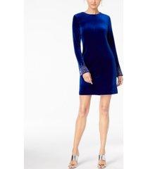 calvin klein petite bling bell-sleeve velvet dress