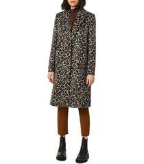 bernardo animal print coat, size large in blue brown animal at nordstrom