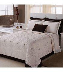 colcha / cobre leito cama queen 150 fios em palha com tabaco com 05 peças - cobre leito belle - aquarela