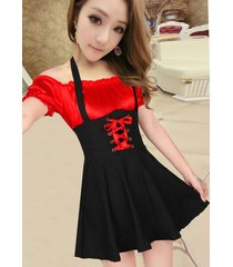 pf269 sexy 2in 1 neck halter dress, spell color, size s-l, red/black