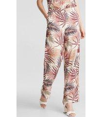 pantalón ancho con estampado tropical beige esprit