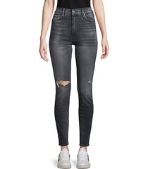 barbara high-rise ripped super skinny ankle jeans