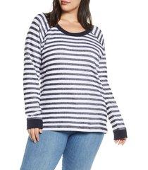 plus size women's caslon rib trim stripe pullover