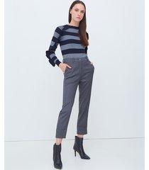 motivi pantaloni a sigaretta gessati lurex donna grigio