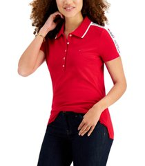 tommy hilfiger logo-trim polo shirt