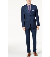 perry ellis portfolio men's slim-fit blue sharkskin suit
