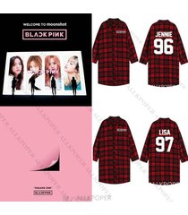 kpop blackpink three-quarter sleeve unisex red plaid jonnie shirt jisoo outwear