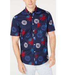 club room men's americana firework printed shirt, created for macy's