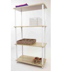 home basics pine wood 4 tier rectangular corner shelf
