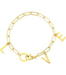 adornia love dangle paper clip chain bracelet