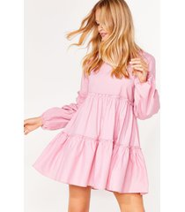 womens what brings you tier relaxed mini dress - baby pink