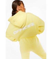official oversized korte hoodie met rugopdruk, lemon