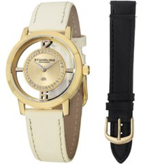 stuhrling original stainless steel gold tone case on tan genuine leather interchangable strap with additional black leather strap, gold tone dial, with silver tone and swarovski crystal accents