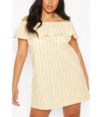 gestreepte jurk met ruches, laag uitgesneden schouders en streep, geel