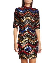 alice + olivia women's inka chevron sequin sheath dress - black multicolor - size 4