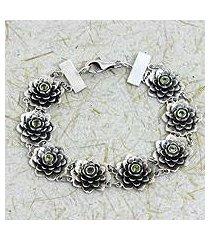peridot flower bracelet, 'sacred green lotus' (indonesia)