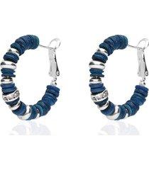 orecchini a cerchio in ottone rodiato con elementi in conchiglia blu e strass chiusura in argento per donna