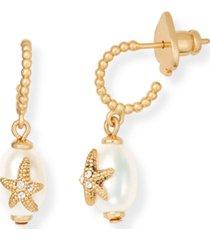 kate spade new york gold-tone cubic zirconia starfish & freshwater pearl (7mm) charm hoop earrings