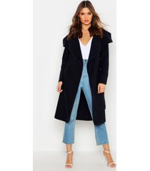 belted shawl collar coat, navy