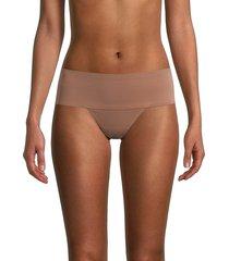 ava & aiden women's bonded edge high-waist thong - micro leopard - size l