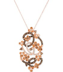 le vian crazy collection diamond fancy scroll floral pendant necklace (1-1/5 ct. t.w.) in 14k rose gold