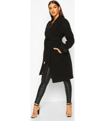 belted collared wool look coat, black