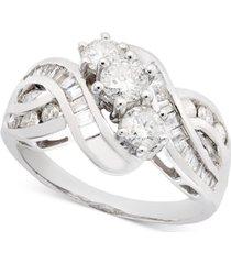 three-stone diamond braid ring in 14k yellow or white gold (1 ct. t.w.)