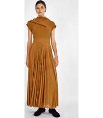 proenza schouler gauze combo draped knit dress bronze/orange 2