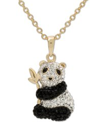 "giani bernini swarovski crystal panda 18"" pendant necklace in 14k gold-plated sterling silver, created for macy's"