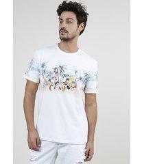 camiseta masculina looney tunes na praia manga curta gola careca branca