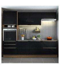 cozinha completa madesa lux com armário e balcáo 6 portas 5 gavetas - rustic/preto marrom